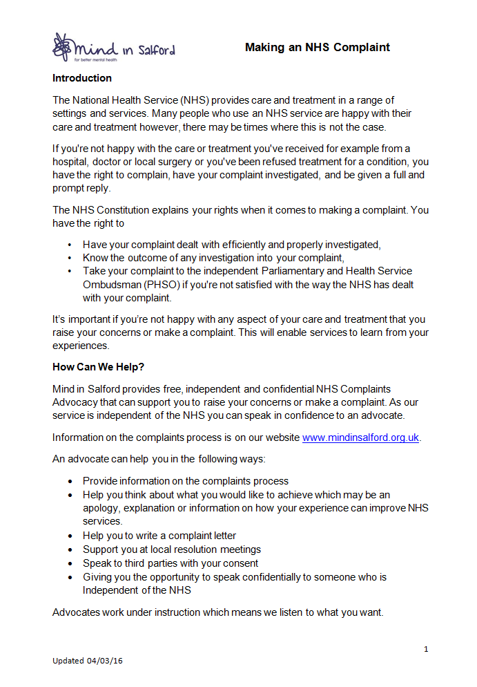 Independent NHS Complaints Advocacy - Bolton Advocacy Hub