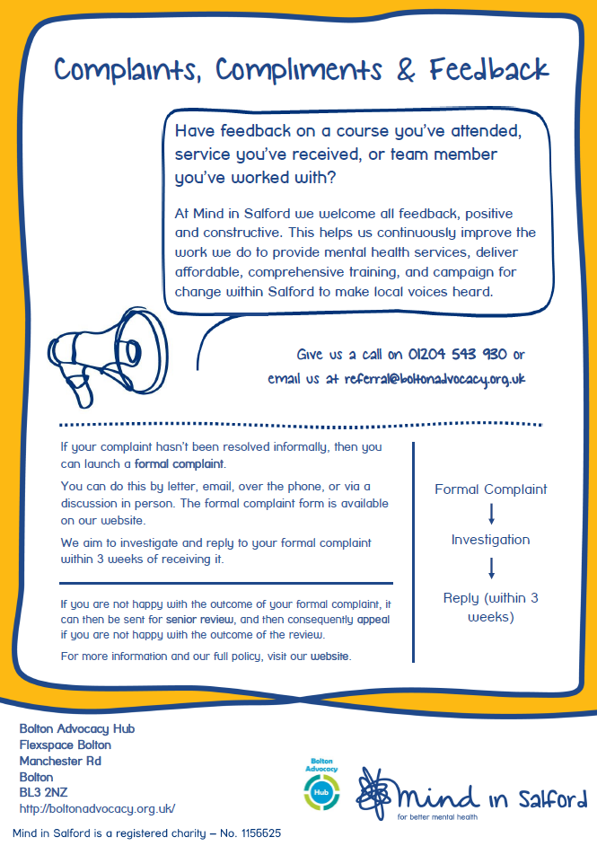 Picture of the Bolton Complaints Compliments & Feedback Poster